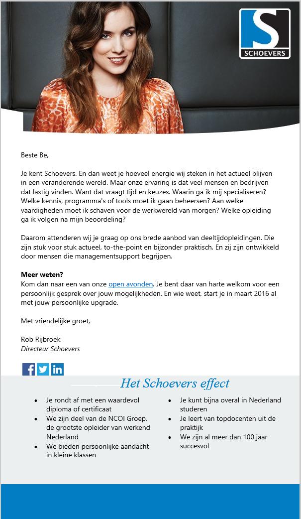 Schoevers | Opleidingen